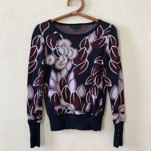 Ann Taylor Floral Sweater XS